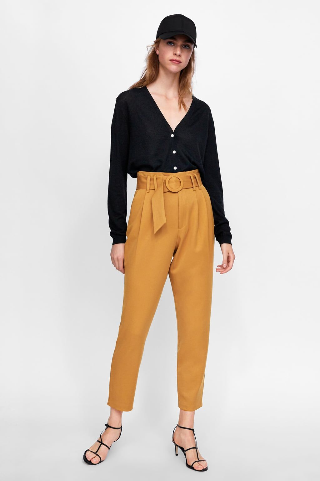 4ef4c657 Image 1 of PANTS WITH BELT AND BUCKLE from Zara | Looks | Trousers ...