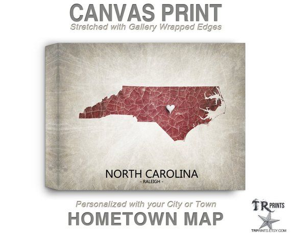 DESCRIPTION North Carolina map stretched canvas print Home Is