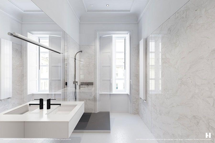 Bagno Marmo Moderno.Bagno Di Lusso In Marmo Bianco N 03 Nel 2019 Bagni In