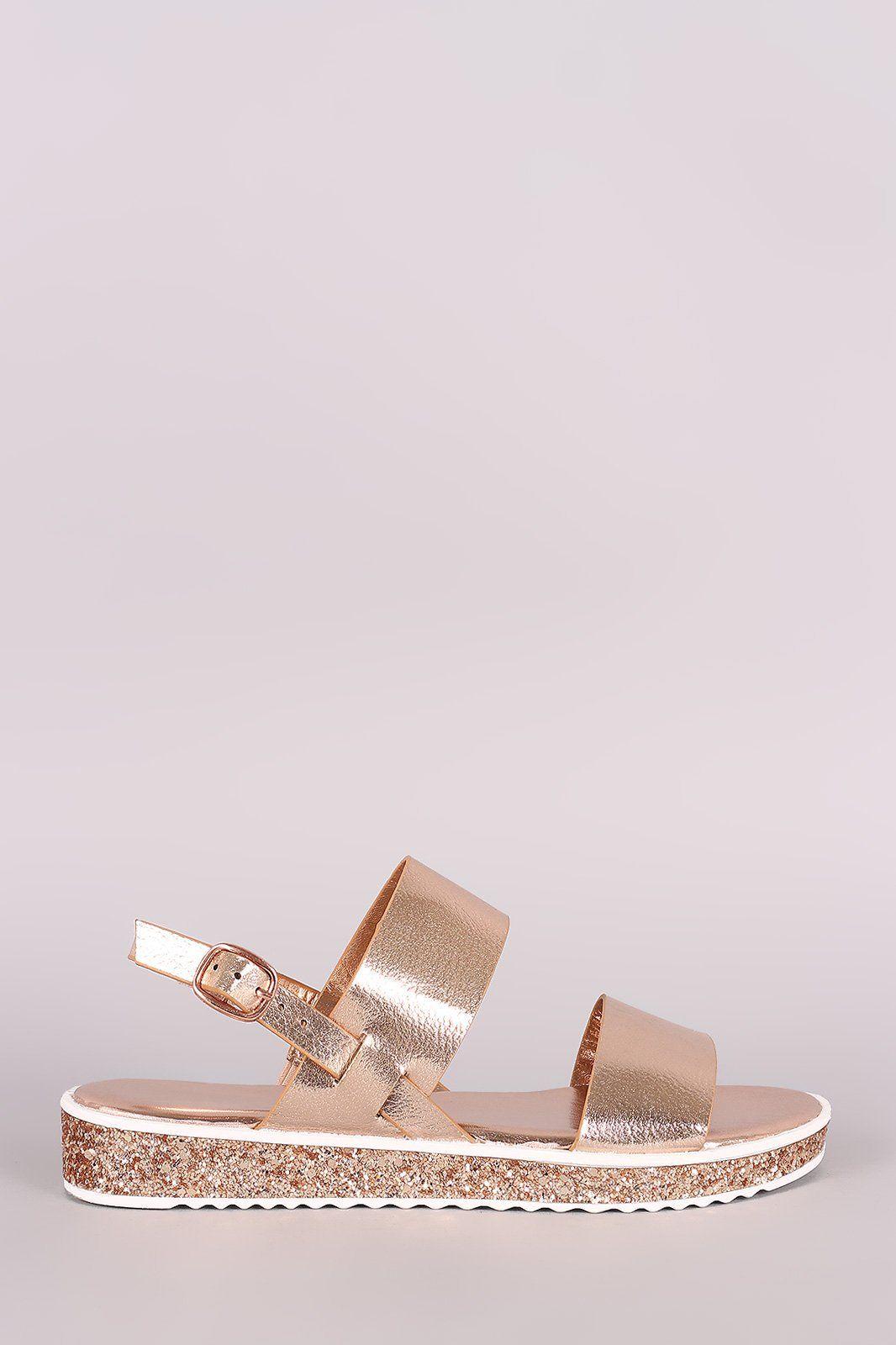 4a6d15606649 Bamboo Double Band Glitter Lug Sole Flatform Sandal