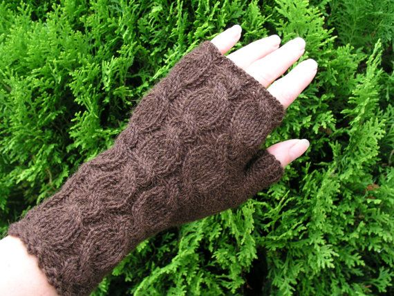 Alpaca wrist warmers brown by CrazyAboutGloves on Etsy