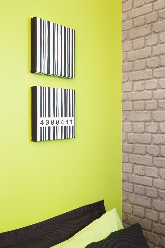 The final reveal! A zingy lime green wall teamed with cool exposed ...