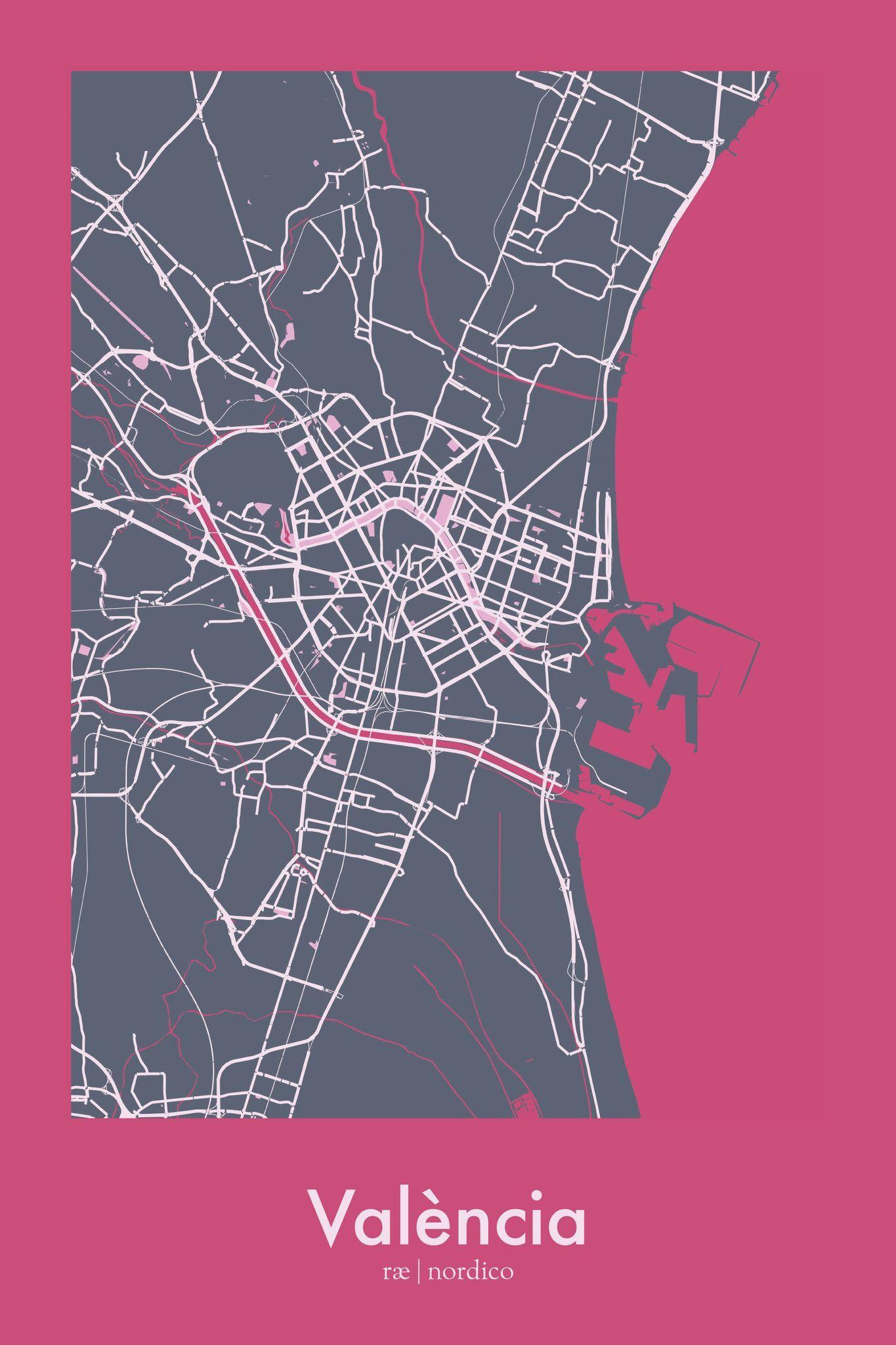 Valencia Spain Map Print Geos