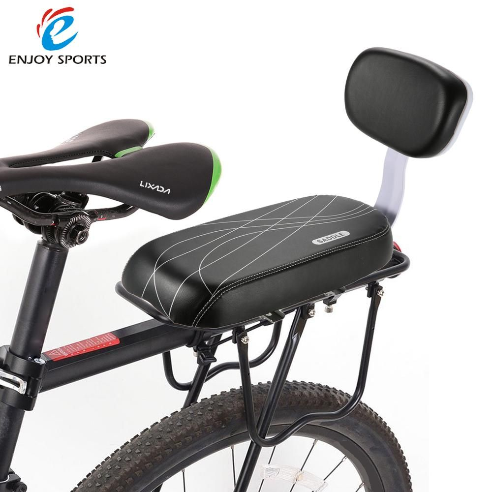 Bicycle Back Seat Pu Leather Soft Cushion Rear Rack Seat Children Seat Cycling Bike Bicycle Mtb With Back Rest Bicycle Child Seats Leather Bicycle Kids Seating