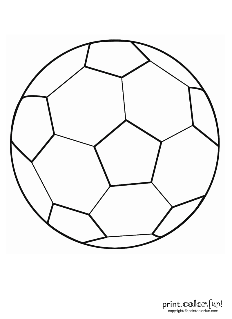 This printable coloring book page of a soccer ball known as a