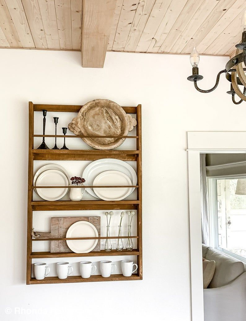 Rustic Wood Plate Rack Shelf/Farmhouse Wood Wall Hanging Display Rack Handmade Custom