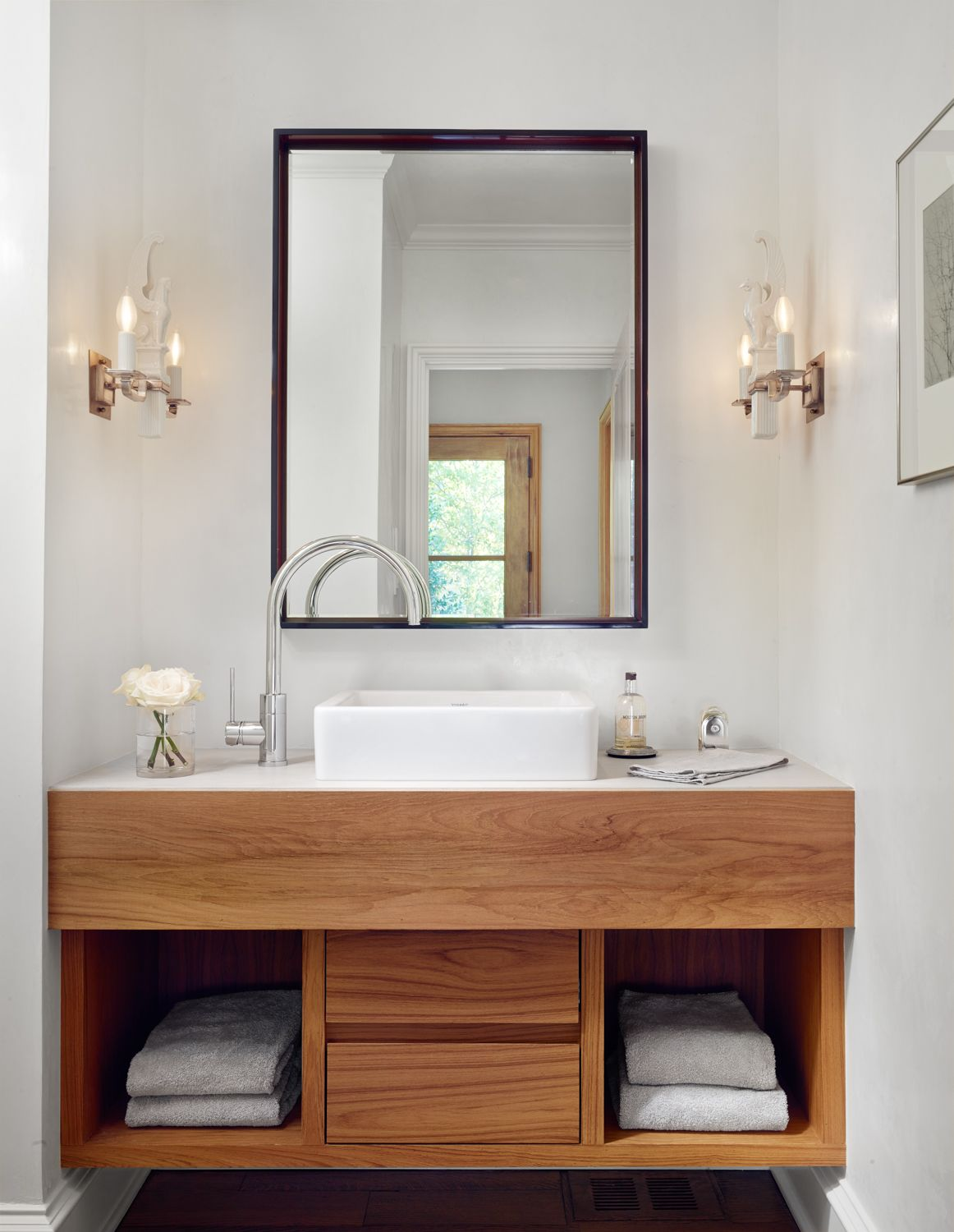 floating contemporary wood vanity side arc faucet vessel