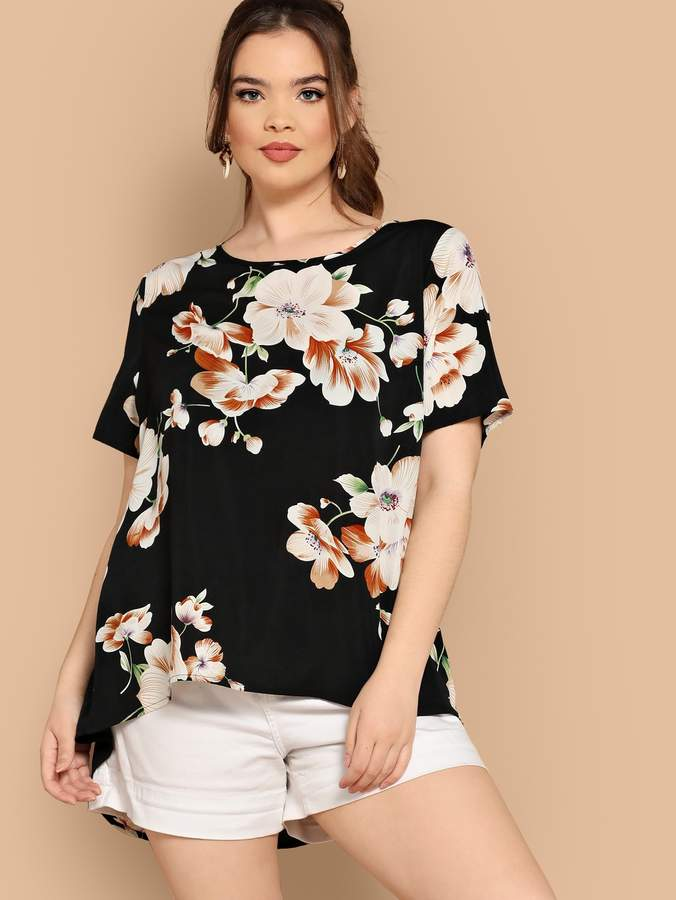 0dfa6336e9 Shein Plus Asymmetrical Hem Floral Top in 2019 | Products | Floral ...
