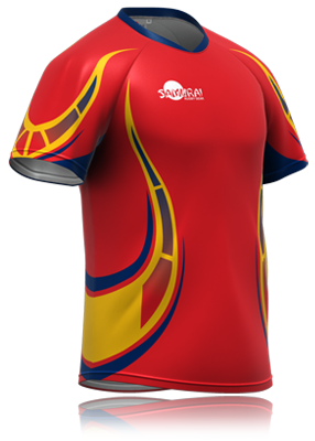 4e6f4c13e Rugby jersey design -red with snake tail print on sides and arm.  www.samurai-sports.com