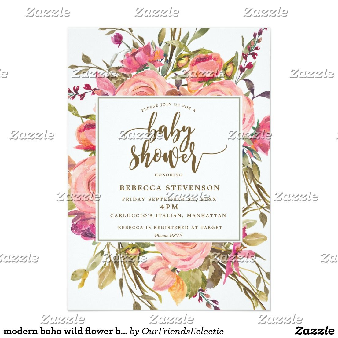 Modern Boho Wild Flower Baby Shower Invitation Shower Invitations