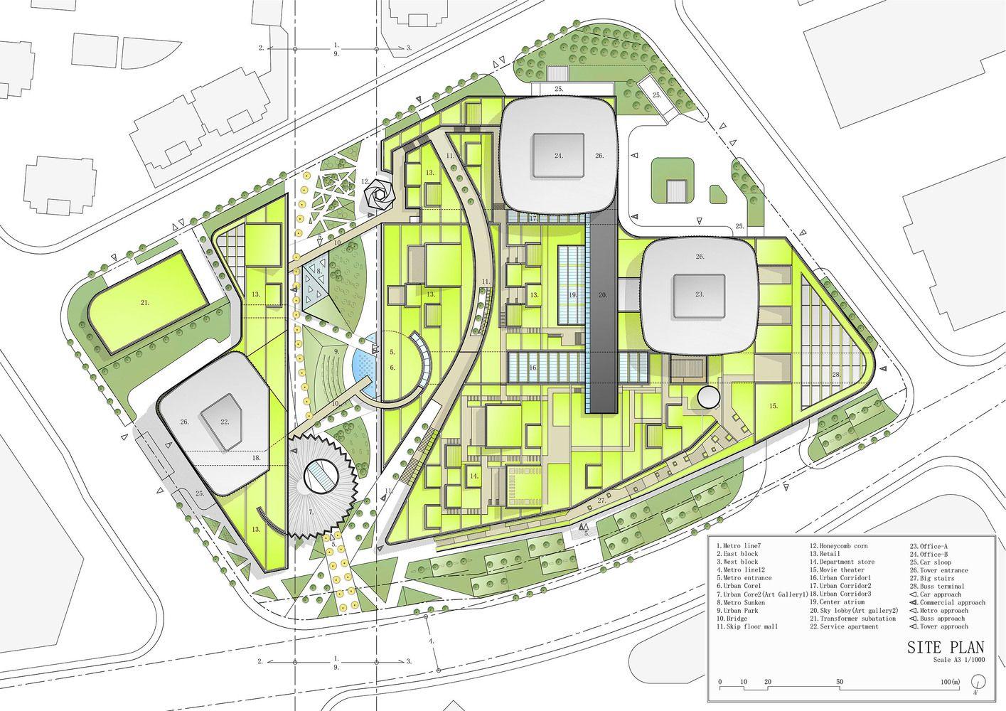 Gallery Of Shanghai Greenland Center Nikken Sekkei 27 Site Plan Mall Design Urban Design Plan