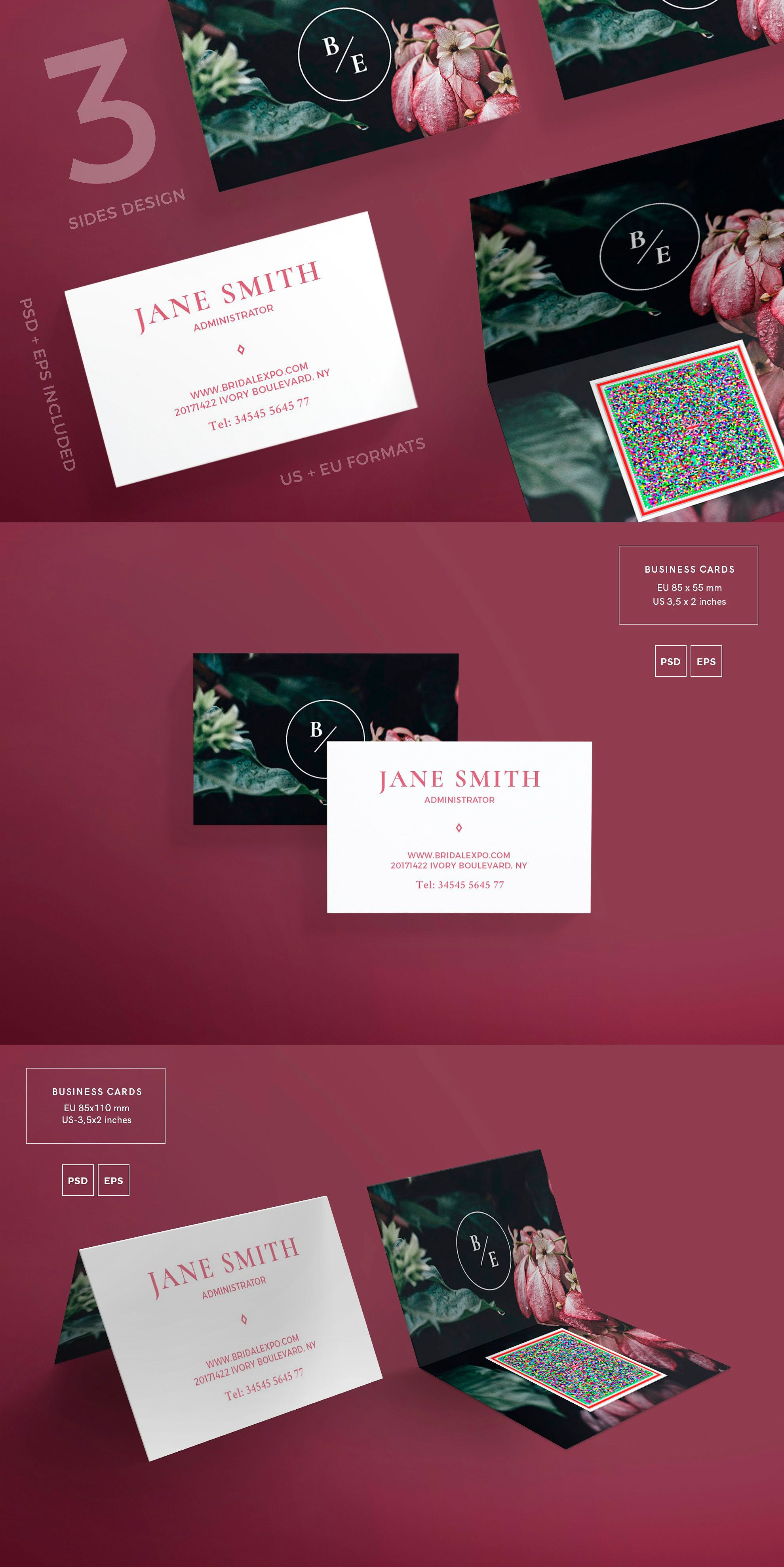 Business Cards Template | Bridal Expo PDF, JPG | Business Card ...