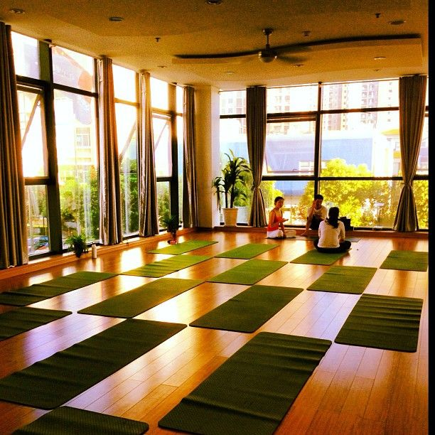 Yoga Studio Lighting Ideas: Large Floor To Ceiling Windows Adds A Ton Of Natural Light