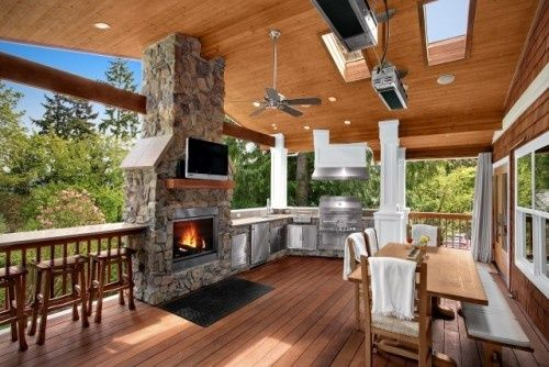 This covered deck has it all. There is a fireplace with a TV mounted above - This Covered Deck Has It All. There Is A Fireplace With A TV