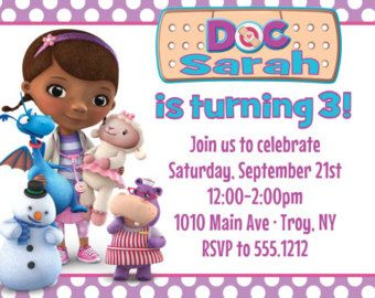 Doc Mcstuffins Party Invitations