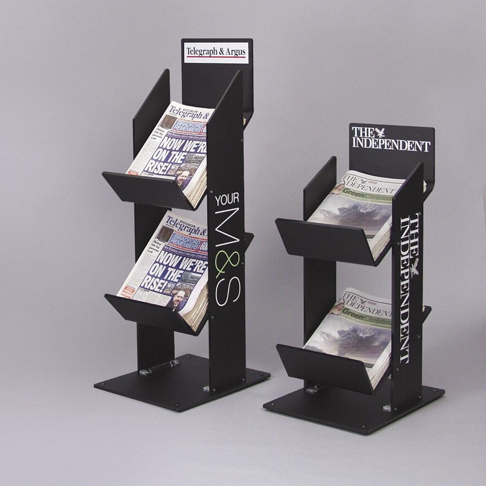 Newspaper Stand Designs : Two and three tier black acrylic newspaper stands