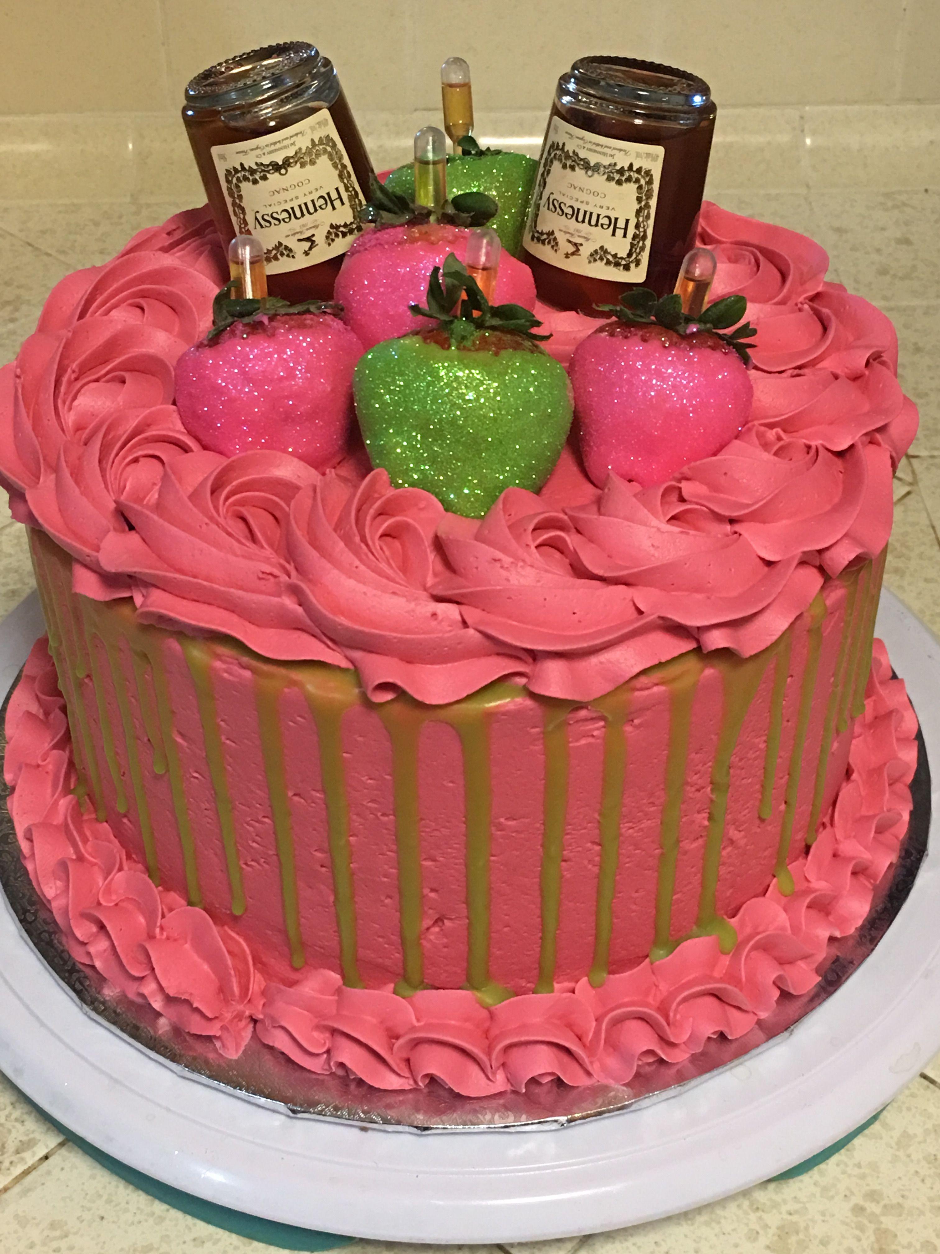 Flamingo pink hennessy cake alcohol cake cake