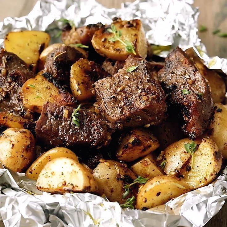 Garlic Steak and Potato Foil Packs -