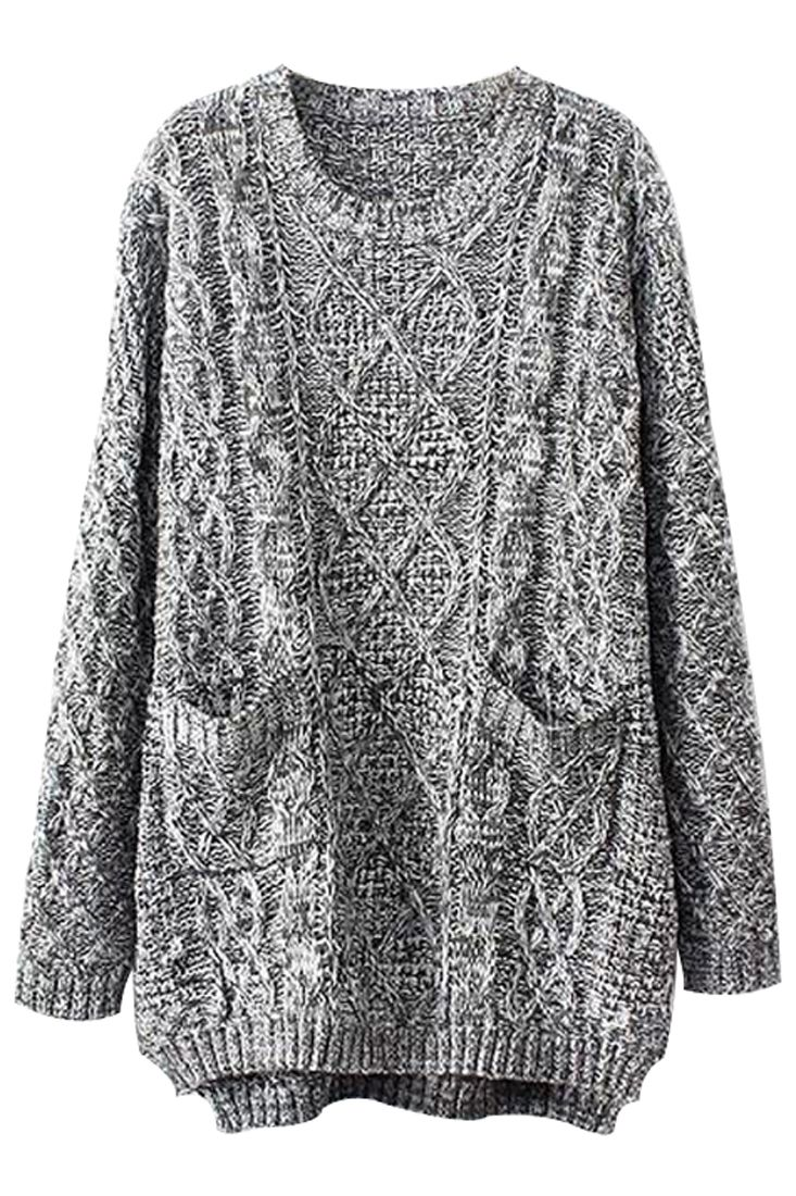 Grey Oversized Cable Knit Sweater - OASAP.com | Cable knit ...