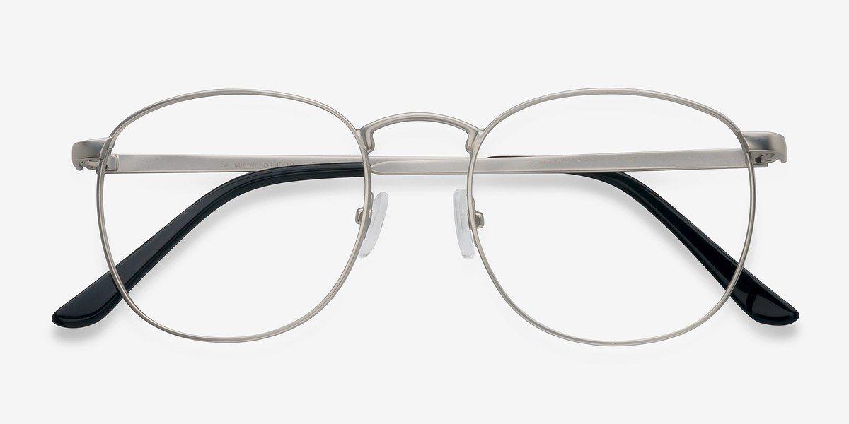 c943c0b1cc86 Silver Round Prescription Eyeglasses-Large Full-Rim Metal Eyewear-St ...