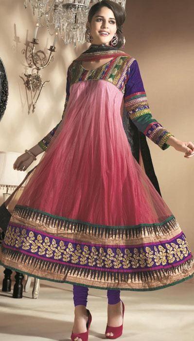 $130.43 Pink Full Sleeve Net Long Anarkali Salwar Kameez 19643