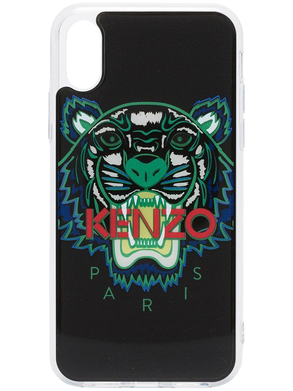 b6e2925f KENZO KENZO MULTICOLOURED TIGER LOGO PRINT IPHONE X CASE - 99 BLACK ...
