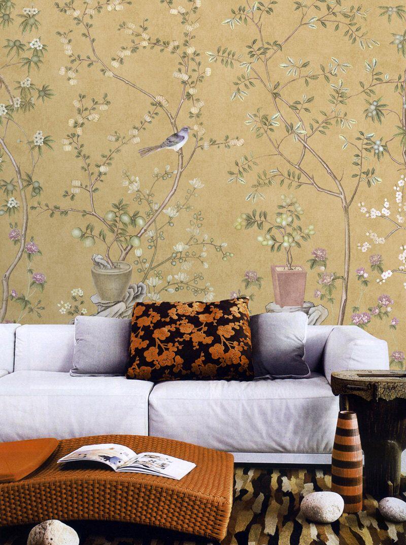 Vintage Taupe Chinoiserie Wallpaper Flower Branch Birds Peach Plum ...