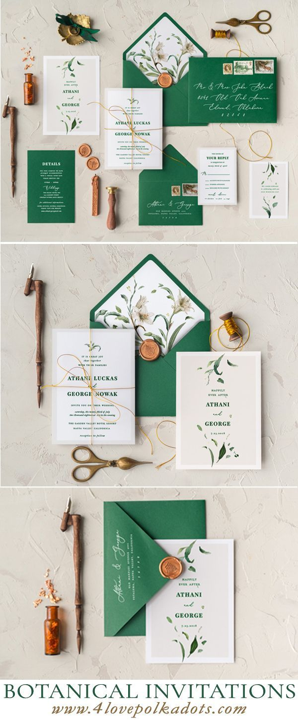 Wedding Invitations Botanical Green Color Schemes Greenery And