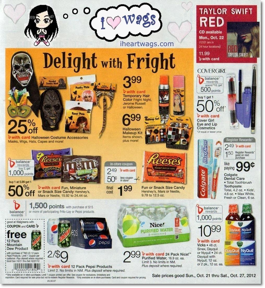 walgreens ad for 10/21 10/27 Halloween makeup kits