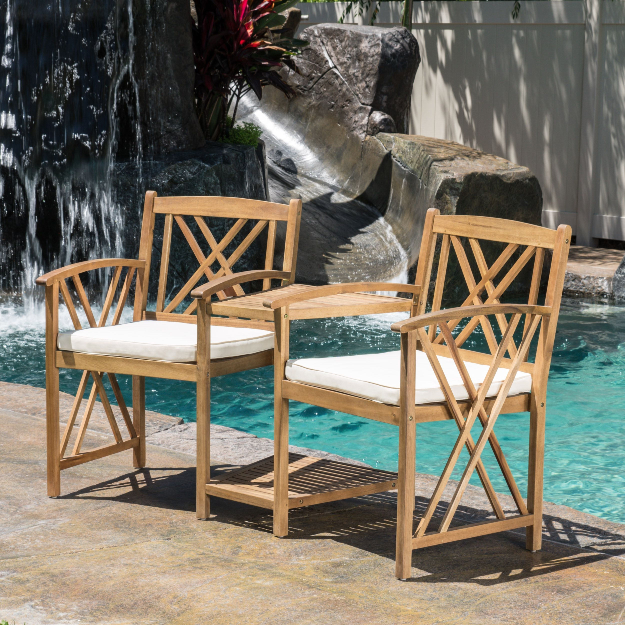 The Bayshore outdoor acacia wood adjoining chairs offer all the