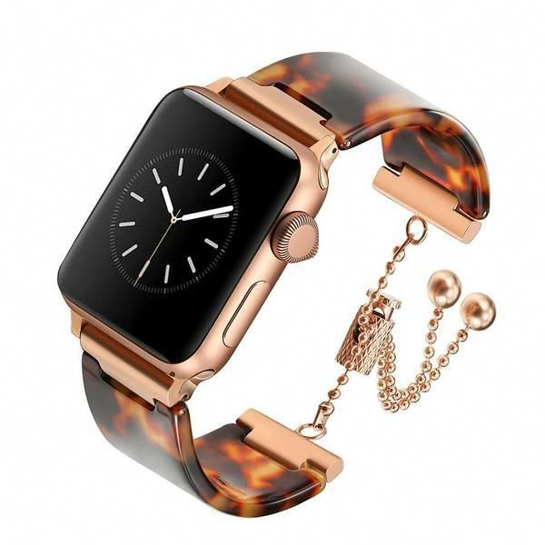 Apple Watch Series 5 4 3 2 Band, Brown Resin cuff, Rose