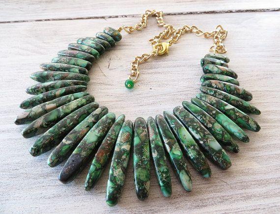 Jasper necklace, spike necklace, green emerald bib necklace, statement necklace, beaded necklace, gemstone jewelry, contemporary jewelry