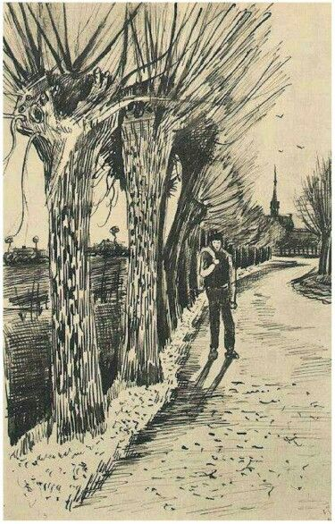 vinsent van gogh road with pollard willows letter sketches 1881 amsterdam the netherlands