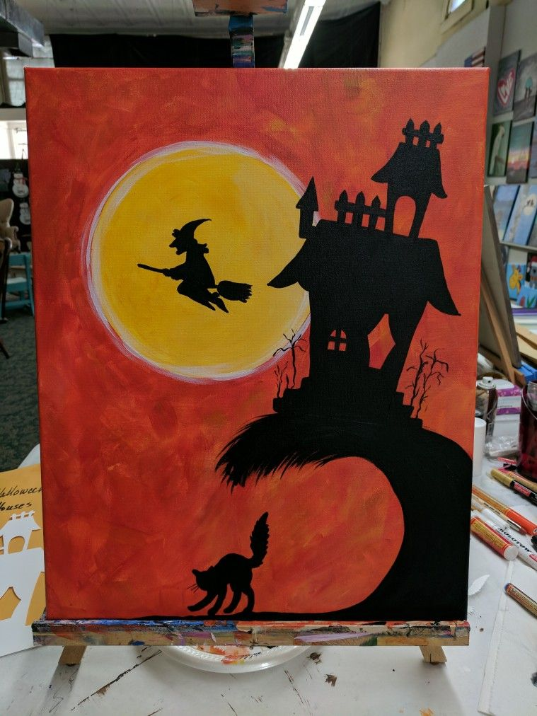 Halloween... Haunted house and witch Halloween canvas
