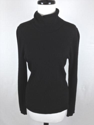 J Crew Sweater Cashmere Black Turtleneck Trendy Luxury Layers Warm Womens M | eBay