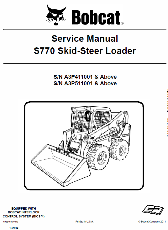 Bobcat S770 Skid Steer Loader Service Manual Skid Steer Loader Repair Manuals Operation And Maintenance
