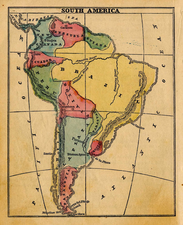 South America Map Original Antique Lithograph Chart Brazil - South america argentina map