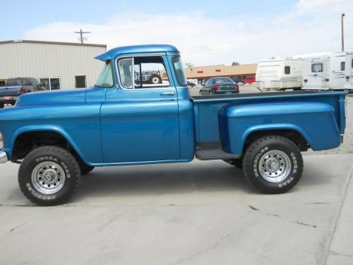 1955 Chevy Silverado Classic Truck 4 Wheel Drive For Sale Blue