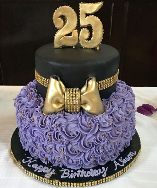 Amazing Purple Cake Rose Cake Gold Bow 25 Years Old Birthday Cake Funny Birthday Cards Online Alyptdamsfinfo