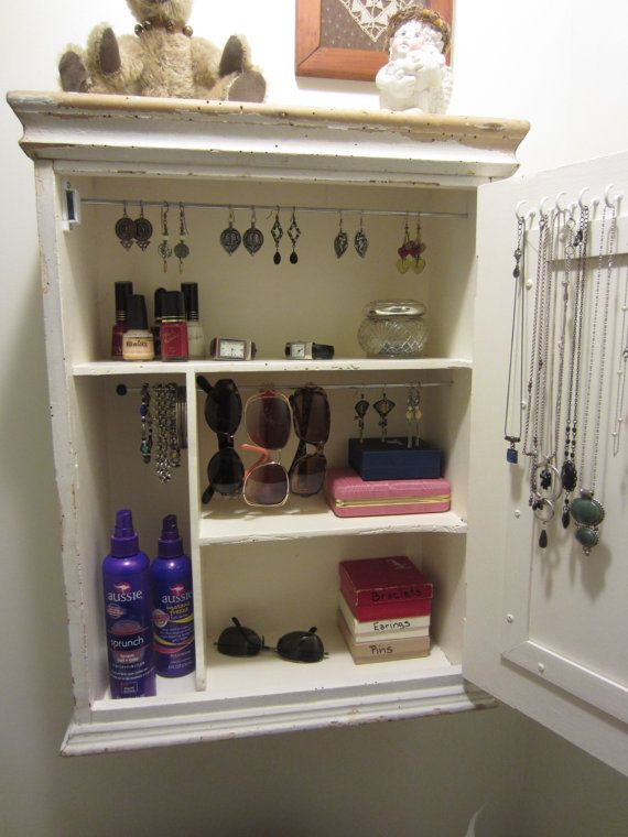 Jewelry Organizer, Jewelry Storage, Jewelry Cabinet Repurposed From An  Antique Chippy Medicine Cabinet