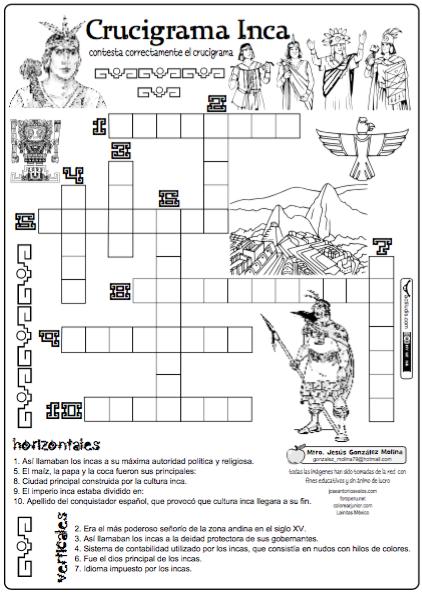 Crucigrama Inca Actiludis Historia De Peru Historia De America Actividades De Historia