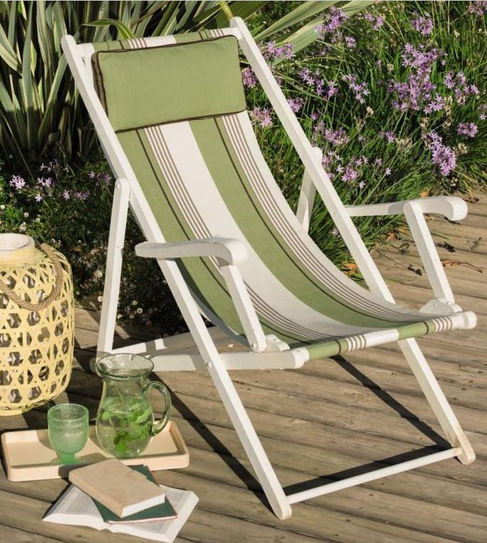 Toile Pour Chilienne Rayee Vert Olive Et Blanc Collection