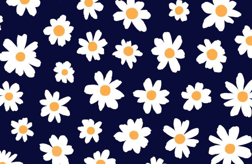 Retro Daisy Wallpaper Cute Floral Design Muralswallpaper In 2020 Daisy Wallpaper Cute Flower Wallpapers Cute Desktop Wallpaper