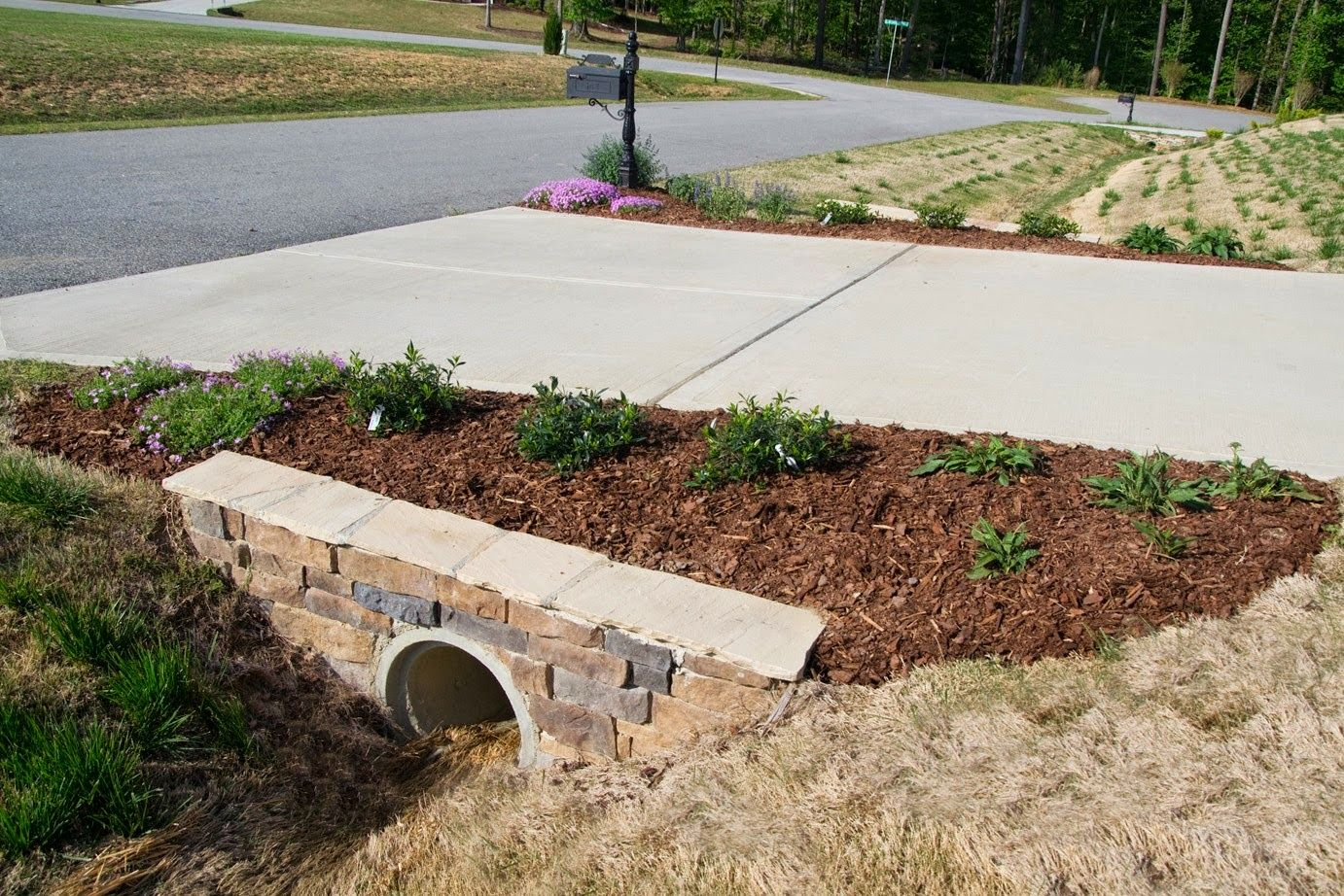 mailbox landscaping with culvert