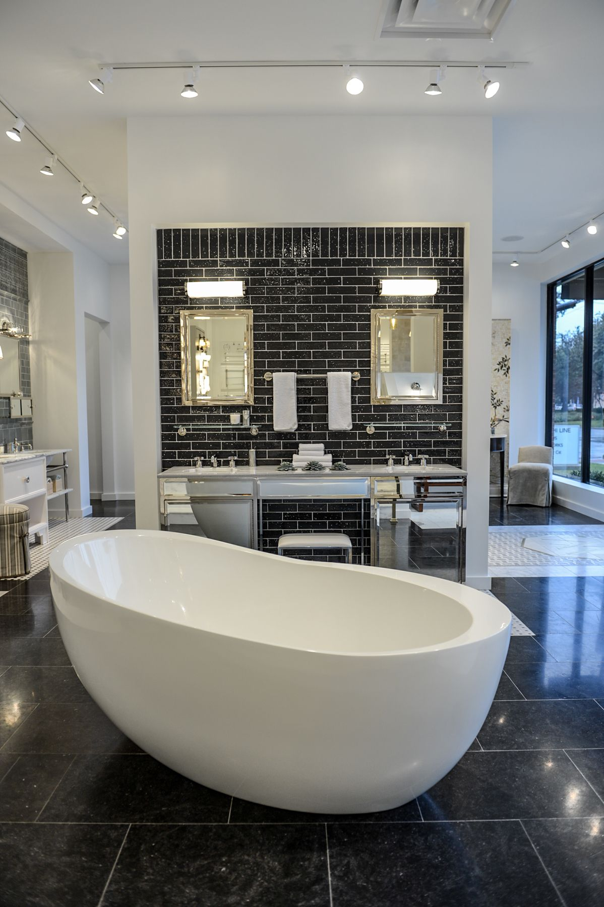 Black tile white grout penny round concept kl for Kitchen showrooms denver