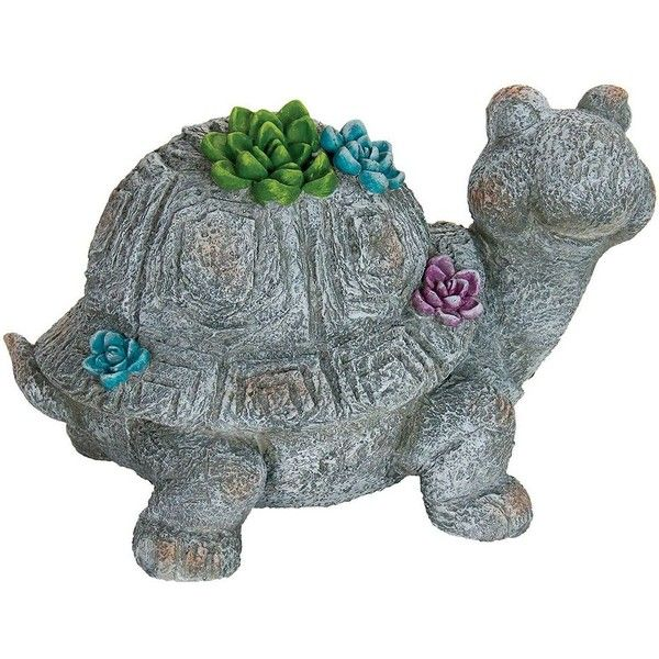 Exhart 12 Turtle Statue Outdoor Decor 63 Liked On Polyvore Featuring Home Outdoors Garden Statuary