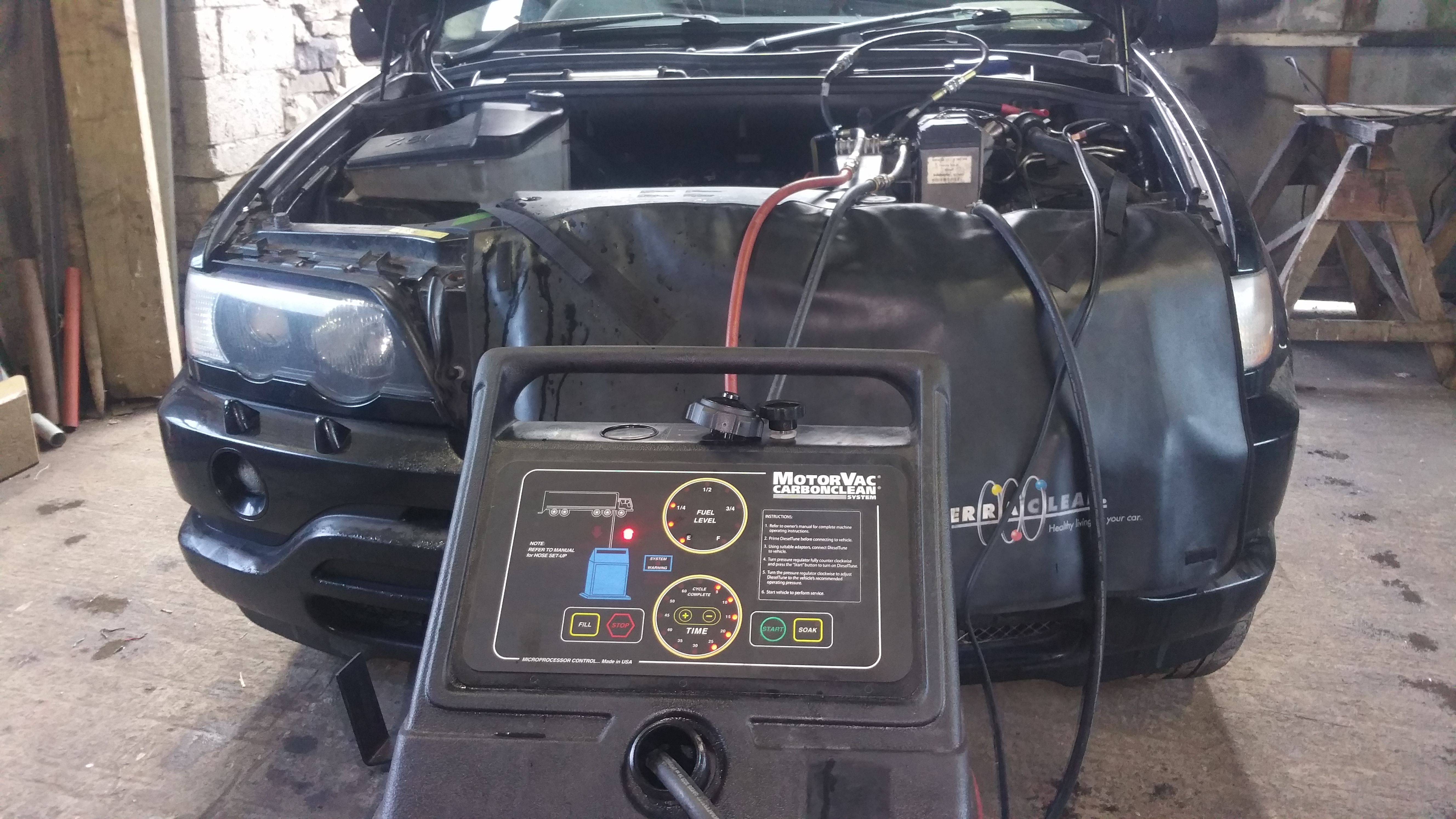 A BMW X5 having a Terraclean fuel service  Terraclean acts
