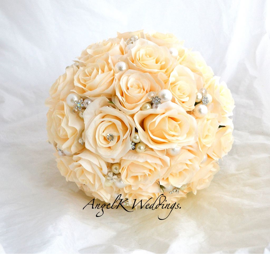 Ivory Silk Roses With Crystals And Pearls Angelk Weddings