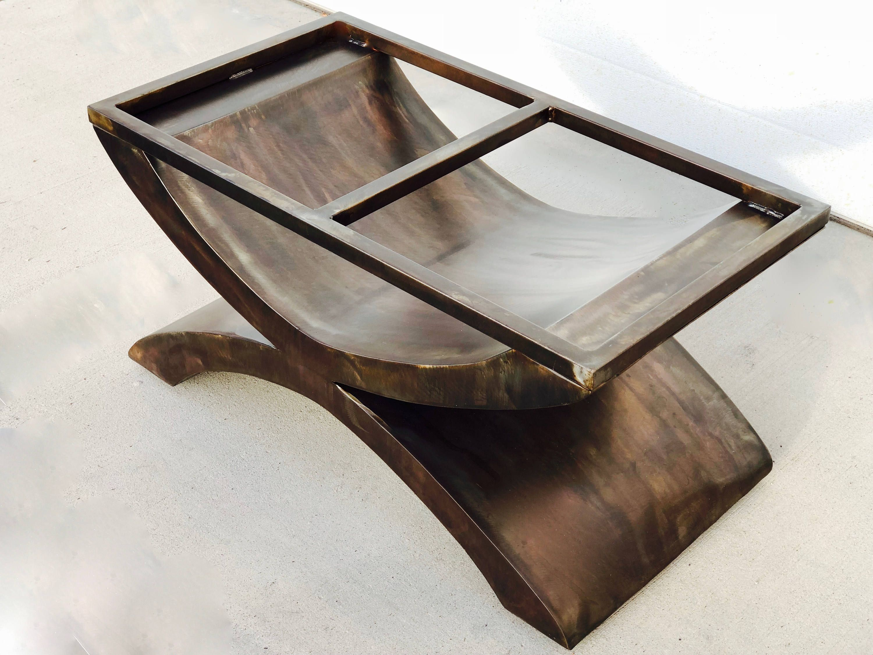 Modern Coffee or Dining Table Base in Antique Bronze Table Base