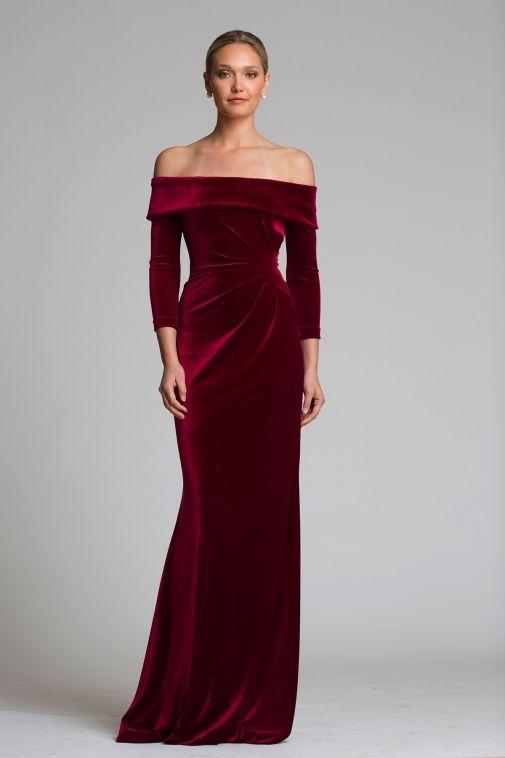6199fdd72e3 Off The Shoulder Stretch Velvet Portrait Collar Column Gown ...
